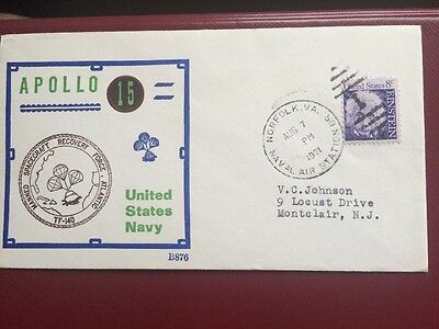 BECK NAVAL SPACE RECOVERY COVER Apollo 15 ,Aug 7,1971 NORFOLK AIR STATION