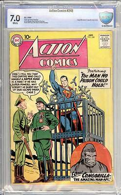 Action Comics # 248  The Man no Prison Could Hold !  CBCS 7.0 scarce book !