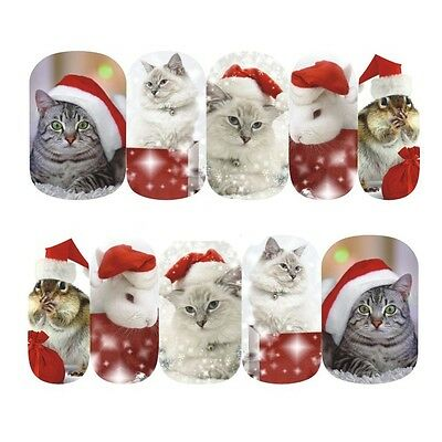 Full Wrap Nail Art Water Decals Stickers Christmas Cats Snow Snowflakes (STZ413)