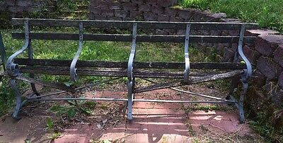Vintage Iron And Old Wood Park Bench Wooden Garden Antique 8'