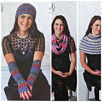 KNITTING PATTERN Ladies Cable Hat & Fingerless Mitts Party Glitz 4ply KC 4639
