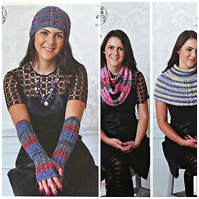 KNITTING PATTERN Ladies Hat Fingerless Mitts Scarf Wrap Party Glitz 4ply 4639