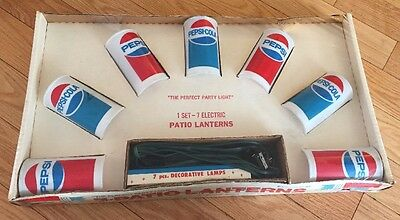 New Vintage PEPSI Can Patio Electric String Lights Lanterns...sealed...year 1975