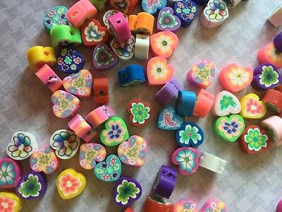 100Pcs Mixed Fimo Polymer Clay Heart shape Spacer Beads 8x8mms