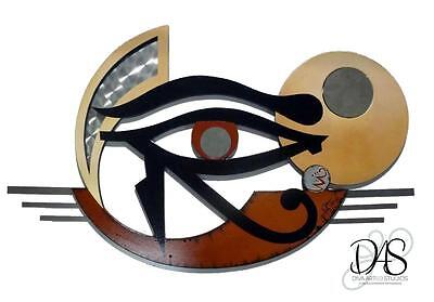 Mythical Unique Egyptian Art - Eye of Horus - Wood Metal & Mirror Wall Sculpture