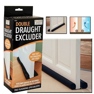 2 X Double Draft Door Draught Excluder Energy Saving Insulation Twin Guard
