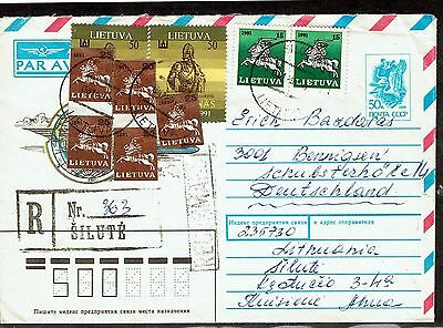 Lithuania 1991 Russian PS airletter with addl Lithuanian stamps to Germany