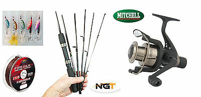 Mitchell Carbon Travel spin rod & reel + braid & spinners - compact 33.5cm long