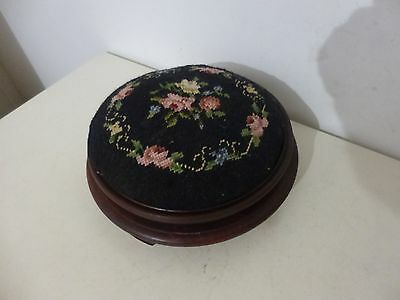 Vintage Embroidered Floral Tapestry Victorian Style Round Wooden Footstool