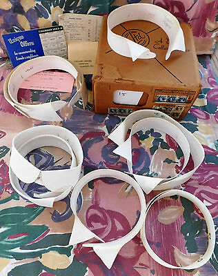 9 detachable shirt collars in old box Size 15 stiff starched nostalgia IMPERFECT