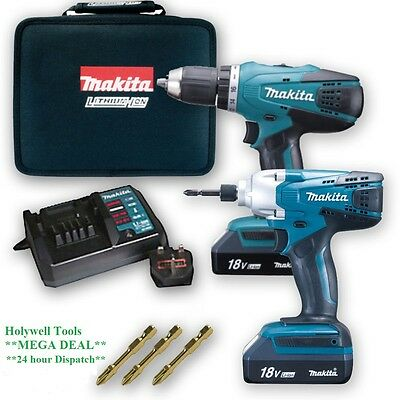 Makita 18V Cordless Lithium Twin Pack X1 Impact  Driver, X1 Combi Drill,complete