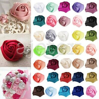 "10pcs Satin Ribbon Rose Flower Wedding Craft Appliques Decor 1""25mm RN0033"