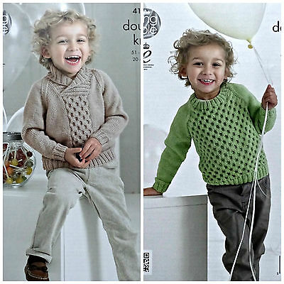KNITTING PATTERN Boys Roll Neck or Round Cable Jumper DK King Cole 4151