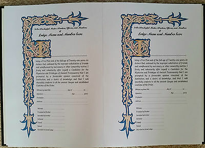 Lodge Candidate Declaration Book -Masonic- personalised with gold foil blocking
