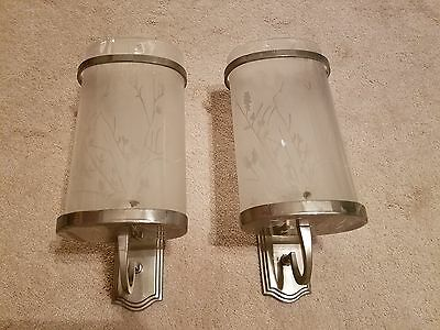Lot of 2 Bombay Company Frosted Etched Glass Candle Sconces