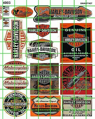 4003 Dave's Decals Ho 1:87 Scale Vintage American Motorcycle Signs & Advertising