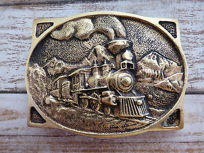 American Steam Train Solid Brass Vintage 1976 Heritage Mint Belt Buckle