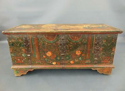 Antique Hand Painted Swedish Chest / Coffer / Coffee Table