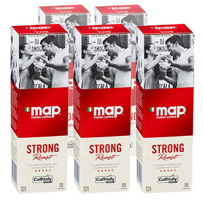 50 MAP Italian Coffee Pods - Strong Roast - Caffitaly Capsules - Free Post
