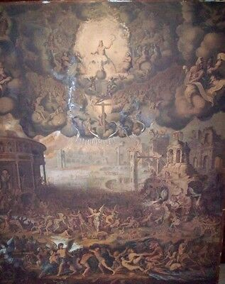 Huge 18th C Pen And Ink Original After Jean Cousin, the Younger- Last judgement