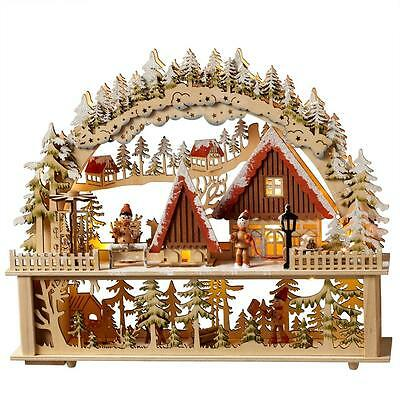 """NEW 13"""" Lighted LED Wooden Mountain Scene Christmas Decoration 128457"""