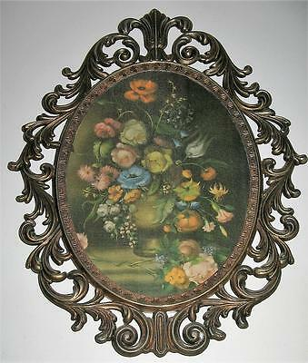 Lovely Vintage Large Brass Frame With Silk Picture - 34Cms - Made In India - G C