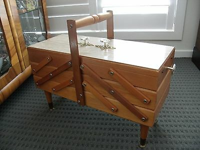 Vintage wood dove tail accordion sewing caddy box on legs SCHAERF Healesville
