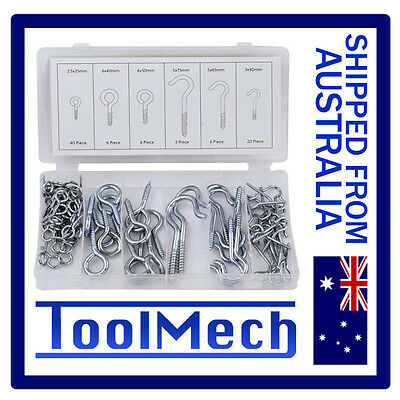 80Pc Screw Hooks And Eyes Galvanised Free Shipping Hook Screw
