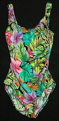 90's ONE-PIECE BEACH RESORT SWIM BATHING SUIT TROPICAL FLORAL RUCHED WOMENS 8 10