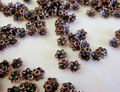 50 Antique Copper Coloured 6mmx2mm Flower Bead Caps bc3525 Jewellery Findings