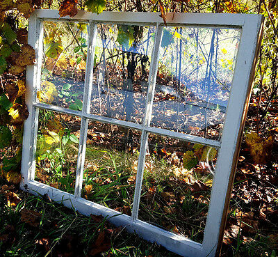 VINTAGE SASH ANTIQUE WOOD WINDOW PICTURE FRAME PINTEREST WEDDING 6 PANE 32x28