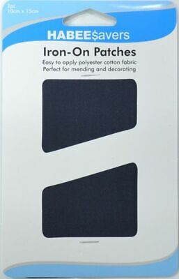 Habeesavers Iron-On Patches, NAVY BLUE, 2 Piece, 10cm x 15cm