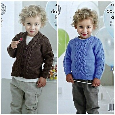 KNITTING PATTERN Boys Long Sleeve Cable Cardigan and Jumper DK King Cole 4149