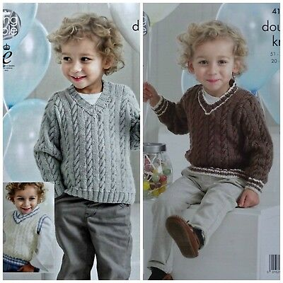 KNITTING PATTERN Boys Sleeveless Cable Gilet Hat /&Wristwarmers DK King Cole 4024