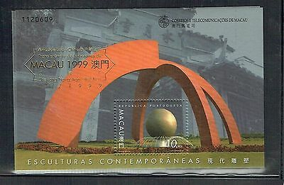 Macau 1999 Sculptures MS with 1999 Gold Opt unmounted mint as per scan