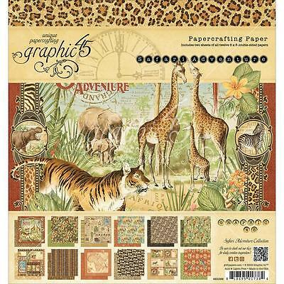 "Graphic45 Safari Adventure Double-Sided Paper Pad 8""X8"" 24/ Pkg Motivblock"