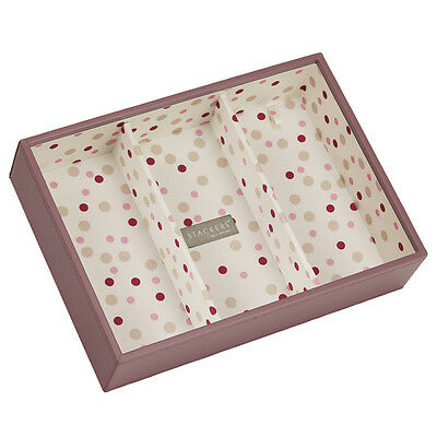 Stackers Pink, Polka Dot Lining Jewellery Gift Box Tray Deep 3 Section, 70481