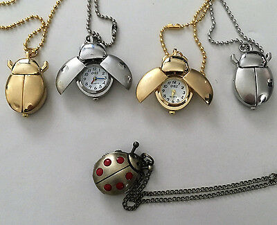 Novelty Cute Ladybird Bug Pocket Watch - NecklaceColours Silver Or Gold