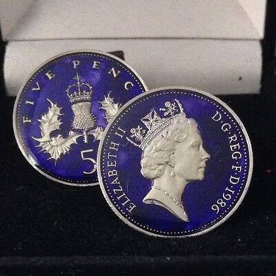 1986 Enamelled large 5p Coin Cufflinks. Blue/silver.  Head/Tail. 30th Birthday.
