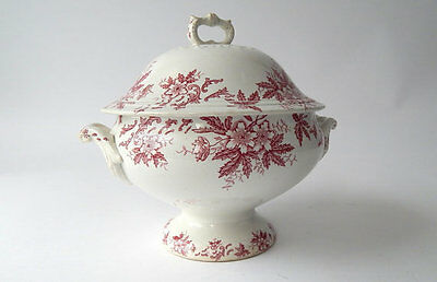 French Vintage Porcelain Soup Tureen Red/Pink Transferware French Vintage