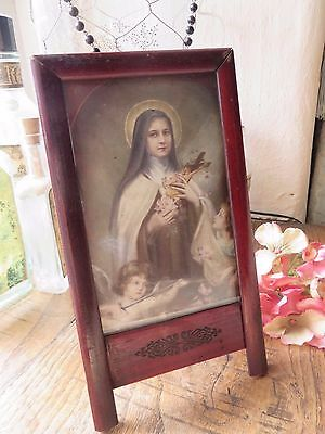 BEAUTIFUL VTG.FRENCH  RELIGIOUS  FRAMED  PICTURE / PRINT   1930's ~ ST THERESE
