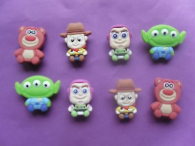 8 Toy Story jibbitz crocs wrist loom band shoe charms cake toppers