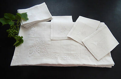 12 French Antique Napkins with Matching Tablecloth Finely Embroidered with Grape