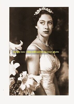 mm83- young Princess Margaret in gown & diamonds & lilies- Royalty postcard 6x4""