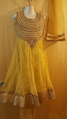 New Indian asian anarkali salwar kameez sharara golden size26  for girls