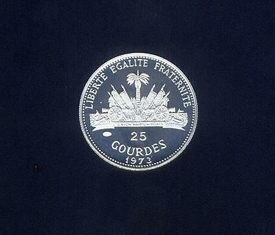 Haiti, 1973 Low Mintage (6,430) Proof Silver World Cup 25 Gourdes, Free USA Ship