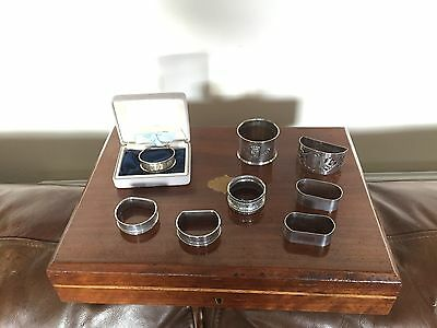 EIGHT SOLID SILVER NAPKIN RINGS 1 PAIR THE REST SINGLE SOME ENGRAVED 122Grams