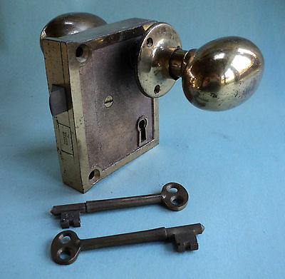 Antique Door Hardware- Surface Mount Brass Knob and Lock Set with Keys • CAD $150.52
