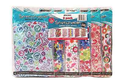 Stretchable Fabric Jumbo Size Book Cover, Assorted Patterns (Pack of 6)