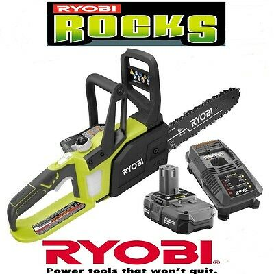 Ryobi P547 10 in. One Plus 18-Volt Lithium + Cordless Chainsaw w/ Battery & Char